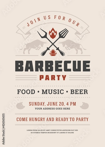 Fototapeta Barbecue party invitation vector flyer or poster design template