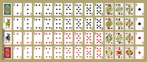 Cuadros en Lienzo Playing cards, simplified version