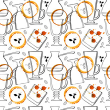 Patter Doodling Glasses For Coffee Drinks And Whiskey, Latte, Irish Coffee, Coffee Turkey, Beans And Coffee Sprigs And Color Watercolor Stains, Hand Drawing. Vector Illustration