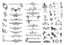 Large Set Of Vintage Ribbon, Dividers, Birds, Horses, Carriage, Clocks, Plants And Design Elements For Decorating Wedding Cards, Flyers, Invitations, Book Pages And Social Network Large Set Of Vintage