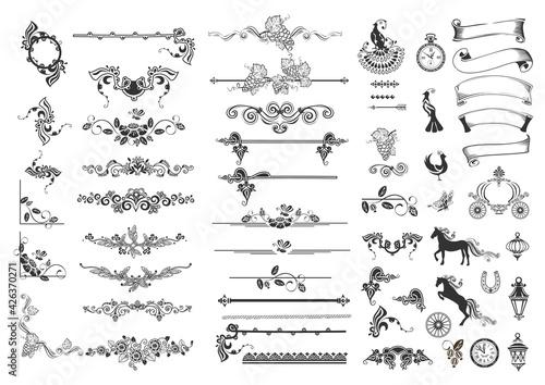 Tableau sur Toile Large set of vintage ribbon, dividers, birds, horses, carriage, clocks, plants a