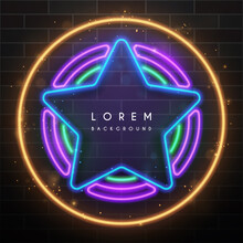 Neon Light Star With Circle Elements
