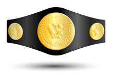 Golden Sport Belt Of Boxing Champion, Kickboxing Tournament Winner With Gloves And Laurel Wreath Emblem In Center. Realistic Vector