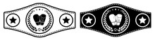 Icon, Sport Belt Of Boxing Champion, Kickboxing Tournament Winner With Gloves And Laurel Wreath Emblem In Center. Vector