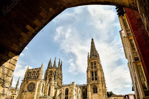 Detail view of Burgos spanish city in castilla y leon spain.