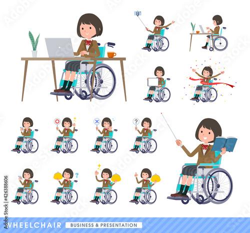 Canvastavla flat type school girl beige Blazer_wheelchair-business