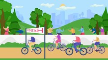 Active Senior Old People Lead Healthy Lifestyle Vector Illustration. Retirees In Nature. Cycling Suitable For Leisure Grandmothers And Grandfathers.