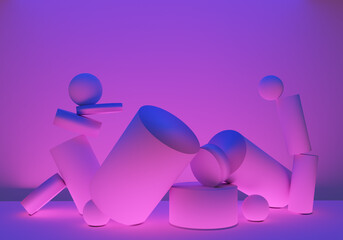 Background 3d. Columns or rods in zero gravity. Background 3d with flying elements. Background with 3d cylinders. Texture of pink neon color. Pattern with neon lighting. Three-dimensional wallpaper