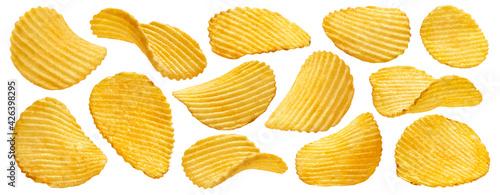 Fotografia Ridged potato chips isolated on white background
