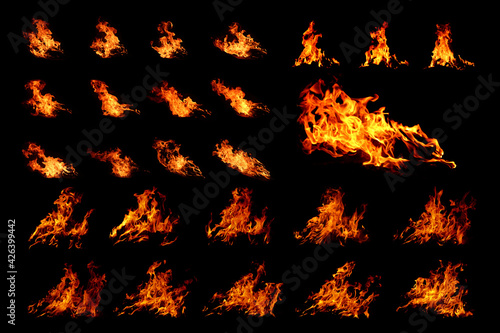Canvas Print Fire flames on black background