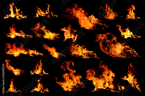 Fototapeta A group of heat energy bonfire groups that burn the fuel On a black background It is a picture of the background design that gives light in close range