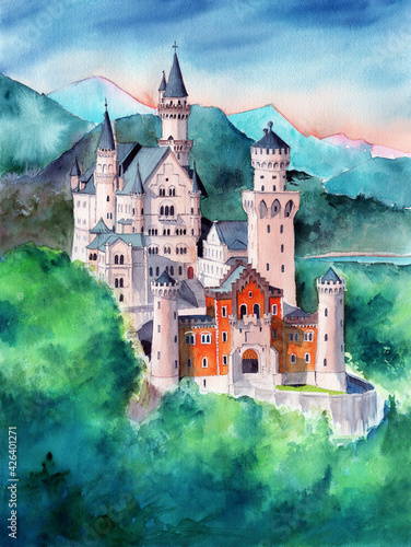 Canvas Watercolor illustration of the Bavarian Neuschweinstein castle in the mountains