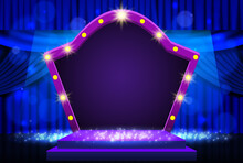 Background With Blue Curtain, Podium And Retro Arch Banner. Design For Presentation, Concert, Show