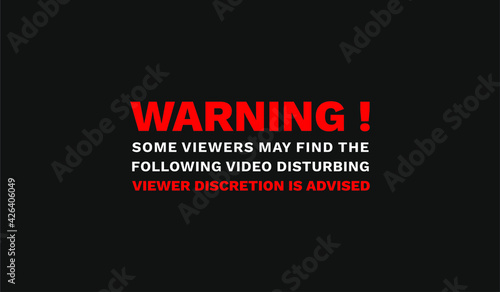 Canvas Print Warning Viewer Discretion is Advised Text Sign Video Photo Content Post Black Ba