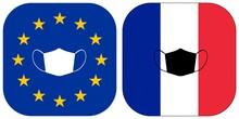 Masque De Protection, Drapeaux Européen Et Français
