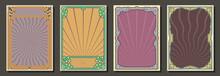 1900s - 1920s Art Nouveau Style Frame Set, Retro Colors And Decor