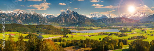 beautiful rural landscape in Bavaria with mountain range and meadow at springtim Fototapeta