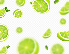 Falling Lime Fruit. Green Slices Of Realistic Lime, Blurred Motion On Transparent Background. Citrus Fruits Vector 3d Illustration