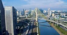 Aerial View Of The Octavio Frias De Oliveira Bridge, In Sao Paulo - Pull Back, Drone Shot