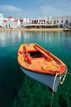 Greek Fishing Boat In Port Of Mykonos