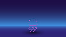 Neon Rain Symbol On A Gradient Blue Background. The Isolated Symbol Is Located In The Bottom Center. Gradient Blue With Light Blue Skyline