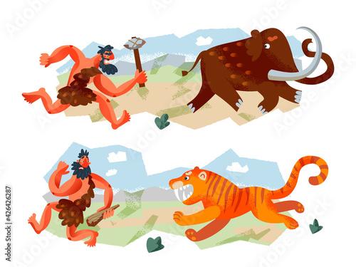 Obraz na plátně Cavemen hunting animals in Stone Age set