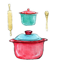 Cooking Tools Hand Drawn Watercolor Clip Art