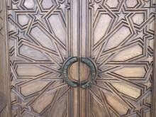 Vintage Wooden Door; Grunge Aged Wooden Texture Of Framed Door Panels.