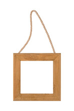 Decorative Wooden Square Frame With Rope Isolated On White Background.