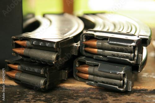 Photo Gun and bullets at the shooting range
