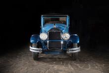 Retro Car Isolated. Vintage Blue Car. Vintage Car On Black. American Car Buick 24-50L 1924