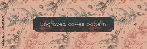 Fototapeta Vintage coffee pattern. Coffee package seamless background for coffee shop banner template with vector branches drawing in engraving style. Coffee roasting banner. Elegant engraved floral pattern. obraz