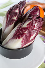 Healthy Food Belgian Endive Red Chicory Lof Lettuce Close Up