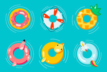 Rubber Or Inflatable Ring Vector Set Isolated From The Background. Colorful Icons Swim Ring In A Flat Style. Symbols Vacation Or Holiday