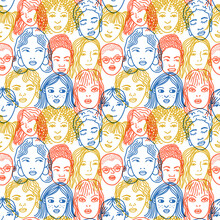 Colorful Overlapping Faces Pattern.