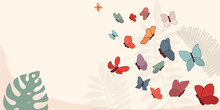 Illustration Background Or Backdrop With Many Hand Drawn Colorful Abstract Butterflies. Trendy Art Wallpaper Decoration With Beautiful Flying Butterflies. Pattern Design