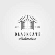 Vintage Curved Gate Logo Vector Illustration Design, Line Art Style