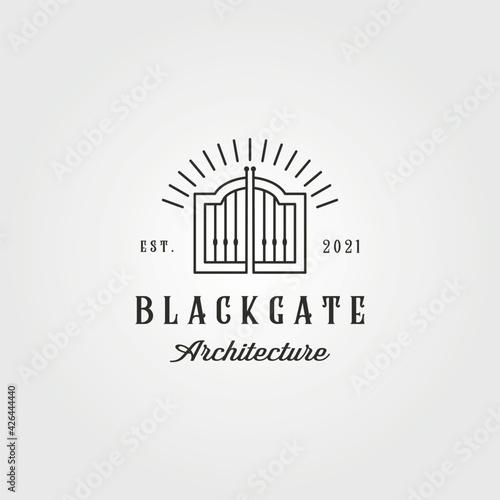 Fotografie, Obraz vintage curved gate logo vector illustration design, line art style