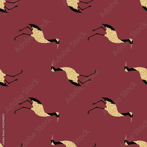 Fototapeta premium Zoo japan seamless pattern with creative crane beige doodle ornament. Pastel maroon background.