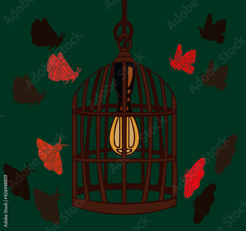 Tablou Canvas Moths flying around lightbulb in birdcage lampshade.