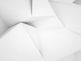 Fototapeta Konie - Abstract white low-poly background, chaotic 3d