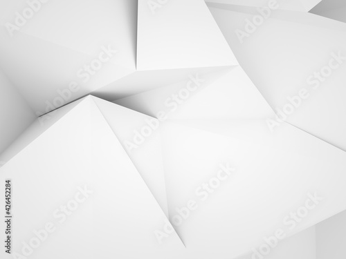Abstract white low-poly background, chaotic 3d