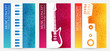 Creative colorful music poster. Vector banners  with musical  instrument silhouettes and vibrant color textured background.