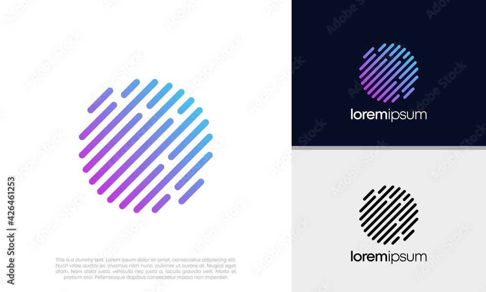 Fototapeta Abstract artificial intelligence logo. Innovative high tech logo template. Smart computer. machine learning. Cognitive logo. Technology Logo. Abstract analytic Logo. Cryptocurrency logo design.