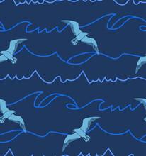 Vector Seamless Seagulls Print Design