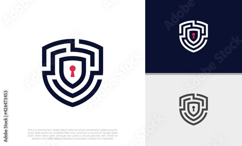 Fotografia, Obraz Shield Security logo symbol for technology