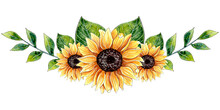 Watercolor Sunflower Arrangement, Floral Border.