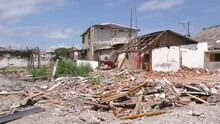 Canoa Ecuador - 04 May 2016: Poorly Designed And Built Homes Wiped Off By The