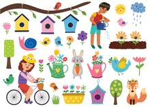 Spring Set With Cute Rabbit, Fox, Birds, Snail And Kids. Hand Drawn Characters And Springtime Elements In Cartoon Style. Vector Illustration