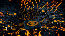 Vision Technology Concept With Eye Symbol On A Microchip. Orange Neon Data Flows Between Users And The CPU Across A Futuristic Motherboard. 3D Render.